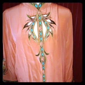 Vintage Bob Mackie Silk Embroidered Blouse M